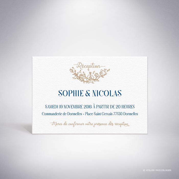 Abzac – Carton invitation de mariage contemporain de style illustratif sur le thème des fleurs sauvages par Julien Preszburger – Photo non contractuelle