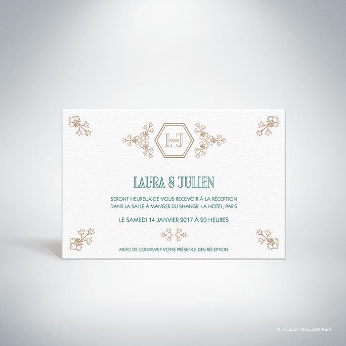 Andras – Carton invitation de mariage de style illustratif sur le thème des oiseaux du paradis par Julien Preszburger – Photo non contractuelle