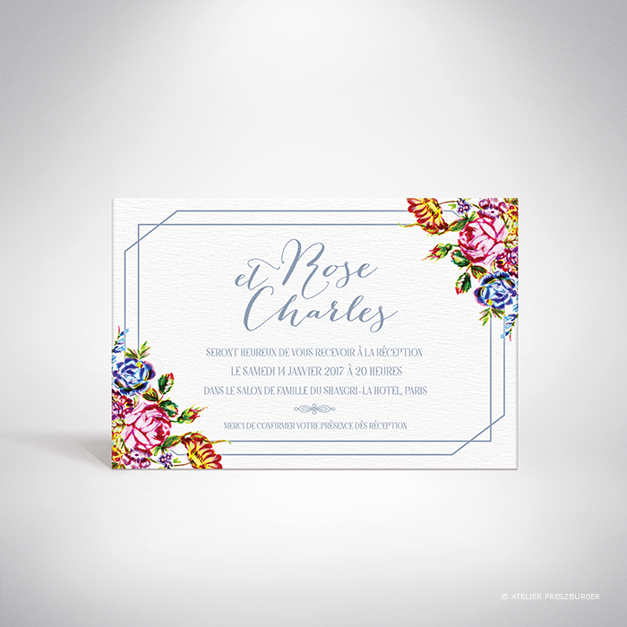 Savignac – Carton invitation de mariage sur le thème des fleurs, inspiré de la porcelaine française et illustré à l'aquarelle par Julien Preszburger – Photo non contractuelle