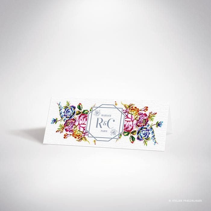 Savignac – Marque place de mariage sur le thème des fleurs, inspiré de la porcelaine française et illustré à l'aquarelle par Julien Preszburger – Photo non contractuelle
