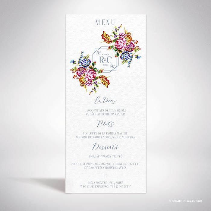 Savignac – Menu de mariage sur le thème des fleurs, inspiré de la porcelaine française et illustré à l'aquarelle par Julien Preszburger – Photo non contractuelle
