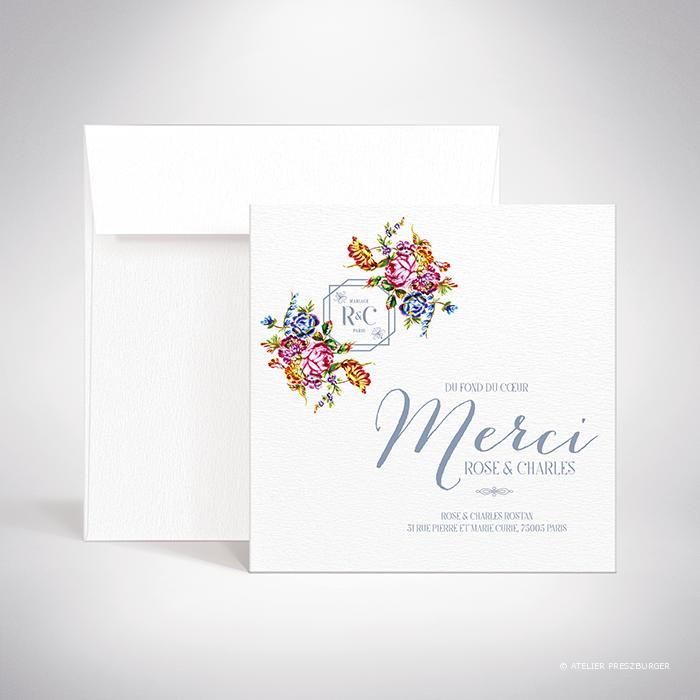 Savignac – Carte de remerciement de mariage sur le thème des fleurs, inspirée de la porcelaine française et illustrée à l'aquarelle par Julien Preszburger – Photo non contractuelle