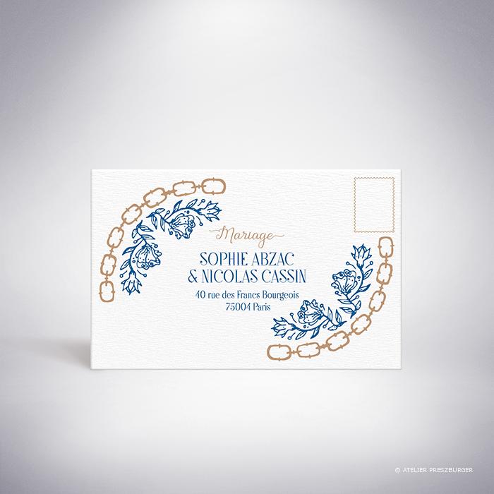 Abzac – Carton réponse de mariage contemporain de style illustratif sur le thème des fleurs sauvages par Julien Preszburger – Photo non contractuelle