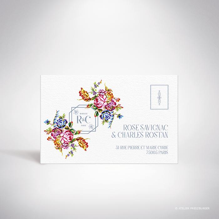 Savignac – Carton réponse de mariage sur le thème des fleurs, inspiré de la porcelaine française et illustré à l'aquarelle par Julien Preszburger – Photo non contractuelle