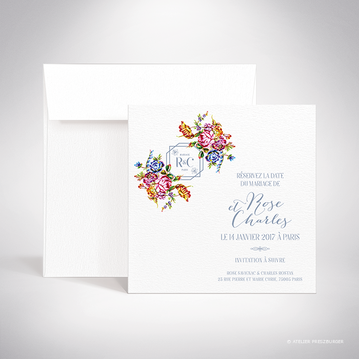 """Savignac – Carte """"save the date"""" de mariage sur le thème des fleurs, inspirée de la porcelaine française et illustrée à l'aquarelle par Julien Preszburger – Photo non contractuelle"""